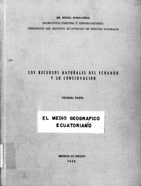 los recursos naturales del ecuador y su conservacion primera parte